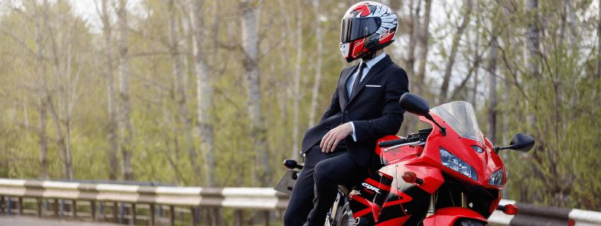 Business man motorcyclist